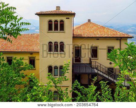 San Marino San Marino Republic - June 16 2017: Architecture of old city in San Marino