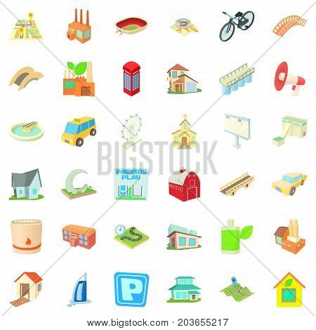 Cityscape icons set. Cartoon style of 36 cityscape vector icons for web isolated on white background