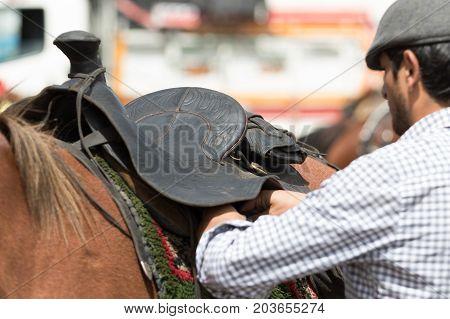 June 10 2017 Toacazo Ecuador: man arranging the saddle on horse before rodeo
