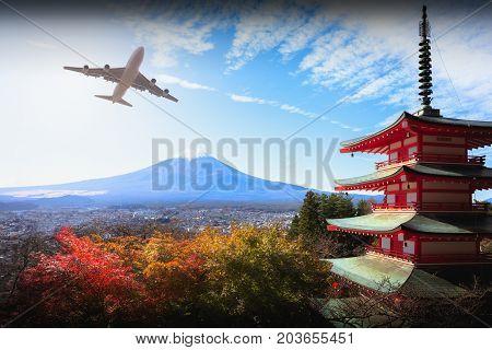 Mt fuji with red pagoda in autumn Fujiyoshida Japan