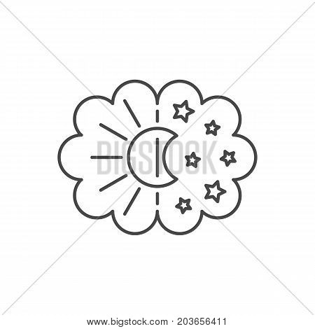 Vector simple thin line icon for well healhty night sleep isolated on white background. Sleep nature moon and stars and sun in the sky. Changing of day and night.