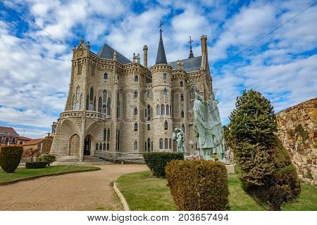 Wide angle view of Episcopal Palace in Astorga, Spain