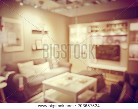 Blurred Image Of  Workplace Or Work Space Of Table Work In Office With Computer Or Shallow Depth Of