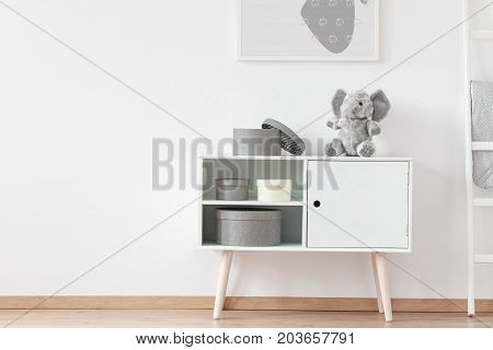 Picture Above White Wooden Shelf