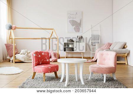 White Coffee Table On Grey Carpet