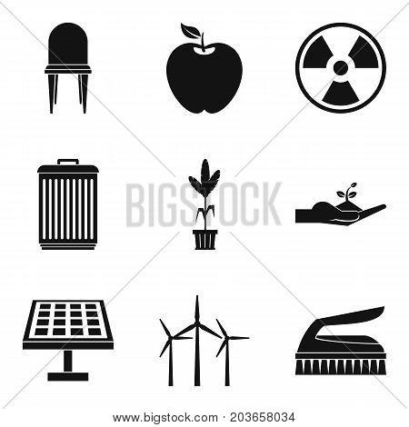 Alternative energy icon set. Simple set of 9 alternative energy vector icons for web design isolated on white background