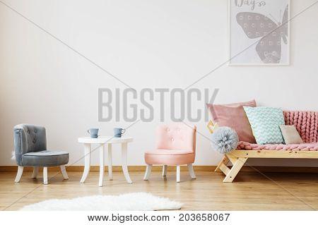 Grey Poster Above Sofa