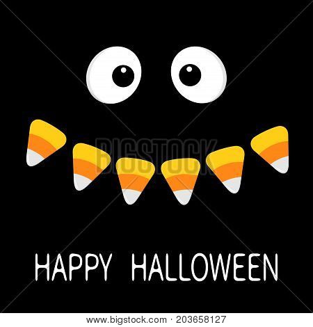 Happy Halloween. Scary face smiling emotions. Big eyes mouth Candy corn smile Vampire tooth fang. Baby Greeting card. Flat design style. Black background. Vector illustration