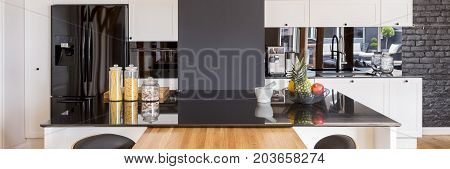 Panorama Of Kitchen With Island