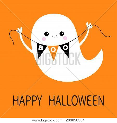 Flying ghost spirit holding bunting flag Boo. Happy Halloween. Scary white ghosts. Cute cartoon spooky character. Smiling face hands. Orange background Greeting card. Flat design. Vector illustration