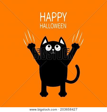 Happy Halloween. Black cat claw scratch glass. Kitten standing. Cute cartoon funny baby character. Greeting card. Scary surprised face emotion. Orange background. Isolated. Flat design. Vector