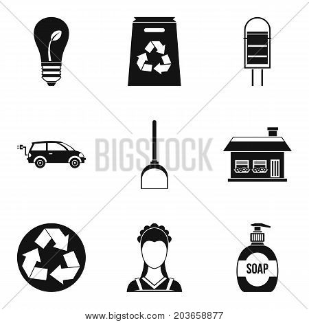 Recycling material icon set. Simple set of 9 recycling material vector icons for web design isolated on white background