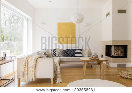 Wooden Table Next To Fireplace