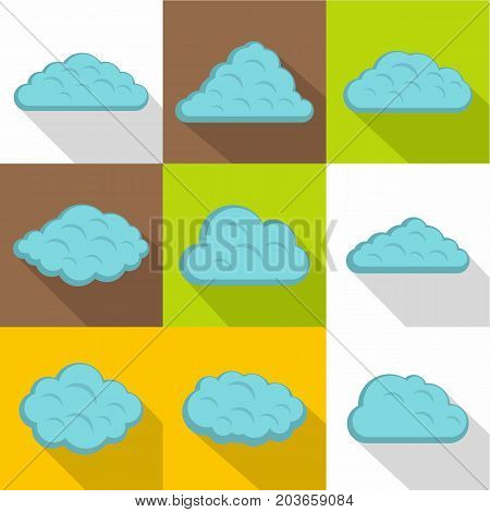 Light cloud icon set. Flat style set of 9 light cloud vector icons for web design