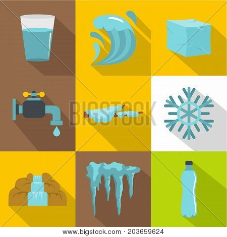 Water condition icon set. Flat style set of 9 water condition vector icons for web design