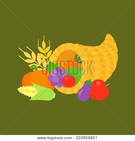 cornucopia and fruits for thanksgiving day, flat design illustration