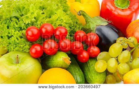 background from a set of vegetables and fruits.