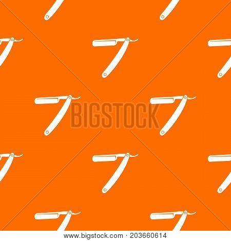 Razor blade pattern repeat seamless in orange color for any design. Vector geometric illustration