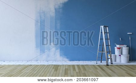 3d rendering image of painting blue wall in an empty room. ladder and paiting tools placed on timber floor.