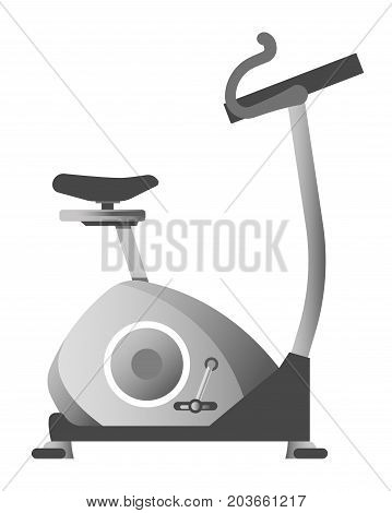Exercise bike in metallic color corpus isolated cartoon vector illustration on white background. Modern gym equipment with soft seat, curved handles and pair of pedals for physical load on legs.