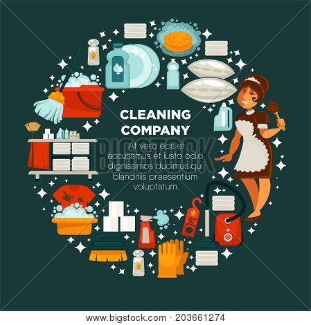 Cleaning company promotional emblem with maid in uniform, powerful cleaners, equipment for work, red vacuum cleaner and fresh towels in circle with sign in middle isolated vector illustration.
