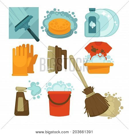 Brushes for windows and carpets, sponge in water, cleaner for dishes, rubber gloves, basin with dirty T-shirt, bottle with spray, bucket with bubbles and wooden broom isolated vector illustrations.