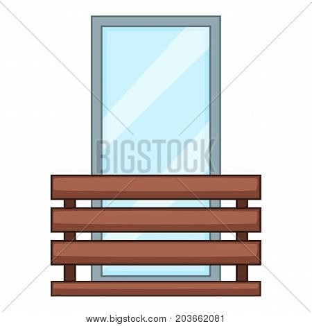 Wood balcony icon. Cartoon illustration of wood balcony vector icon for web