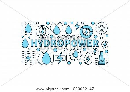 Hydropower minimal banner - vector creative illustration made with word HYDROPOWER and water power icons on white background