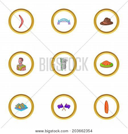 Australian culture icons set. Cartoon set of 9 australian culture vector icons for web isolated on white background