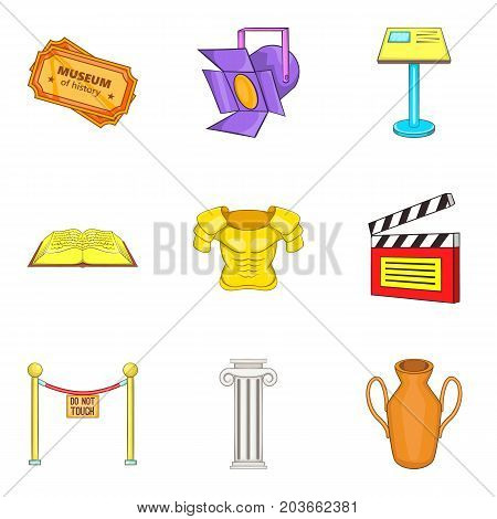Props icons set. Cartoon set of 9 props vector icons for web isolated on white background