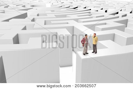 miniature people meeting on a maze on a white background