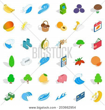 Healthy icons set. Isometric style of 36 healthy vector icons for web isolated on white background