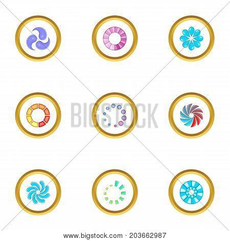 Web loading icons set. Cartoon set of 9 web loading vector icons for web isolated on white background