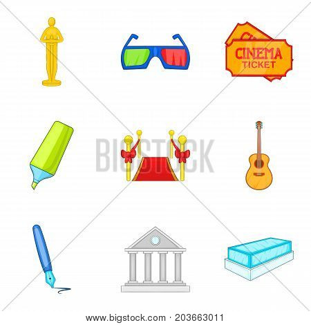 Film creator icons set. Cartoon set of 9 film creator vector icons for web isolated on white background