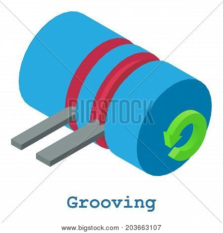 Grooving metalwork icon. Isometric illustration of grooving metalwork vector icon for web