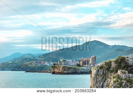 A view over Castro Urdiales, a city in Cantabria, in the north of Spain