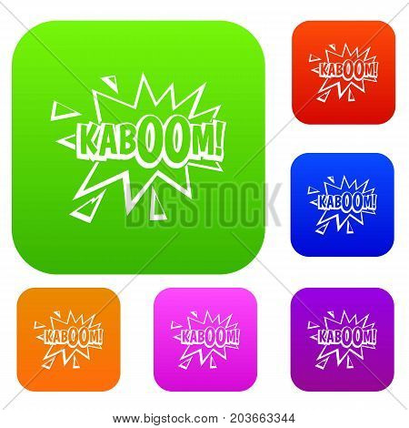Kaboom, explosion set icon color in flat style isolated on white. Collection sings vector illustration