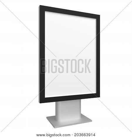 Blank 3D illustration city light mock-up with black frame isolated on white.