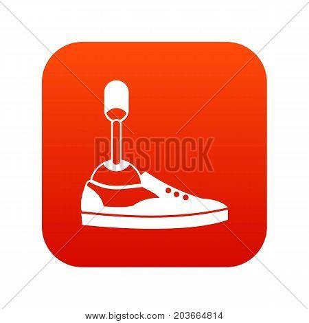 Prosthetic leg icon digital red for any design isolated on white vector illustration