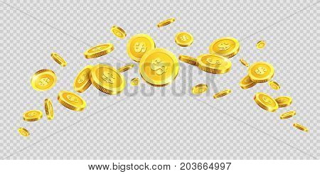 Gold coins rain splash splatter or golden money dollar and metal cent coin spatter fall on transparent background. Vector cash jackpot or fortune money abundance