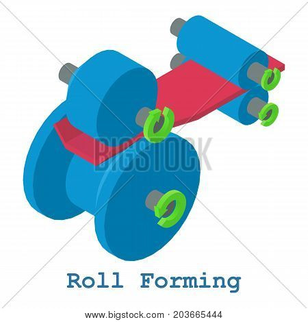 Roll forming metalwork icon. Isometric illustration of roll forming metalwork vector icon for web