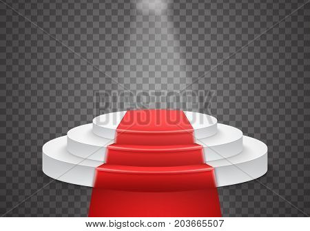 Illustration of Vector Podium Template. 3D Realistic Vector Winner Podium with Red Carpet and Bright Light
