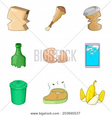 Kitchen cleaning icon set. Cartoon set of 9 kitchen cleaning vector icons for web design isolated on white background