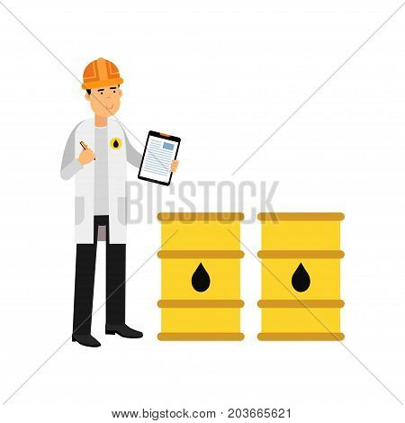 Engineer of oil industry character controlling the process of oil production and transportation vector illustration on a white background