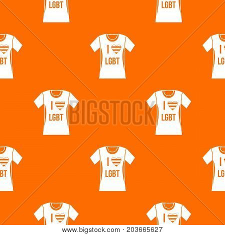T-shirt i love LGBT pattern repeat seamless in orange color for any design. Vector geometric illustration