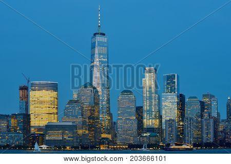Manhattan Skyline over Hudson river at dusk New York City