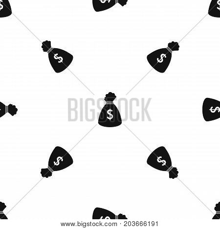Money bag pattern repeat seamless in black color for any design. Vector geometric illustration