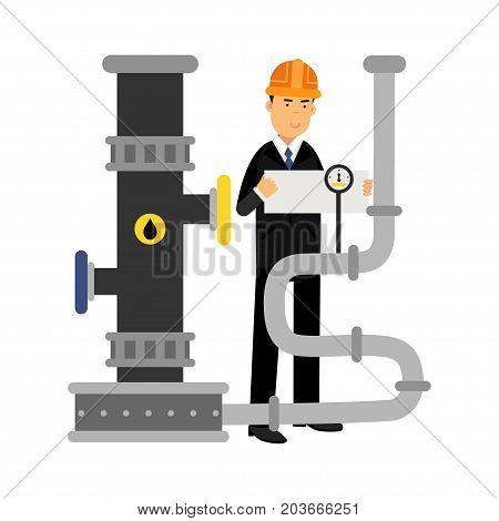 Oilman engineer character controlling gauges on an oil pipeline, oil industry production vector Illustration on a white background