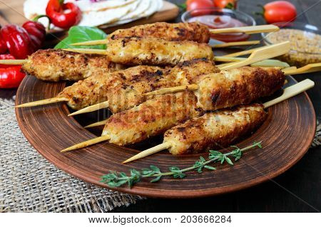 Lula-kebab is a traditional Caucasian meat dish. Chopped fried meat on skewers. Turkish cuisine.