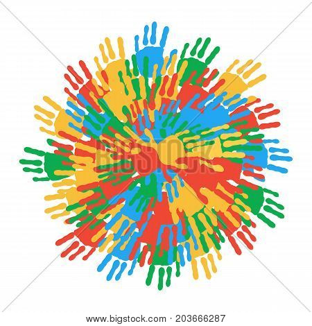 A circle of colorful handprints. Concept symbolizing friendship unity peace harmony. Design for textiles banners postcards. Vector illustration.